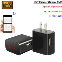 4K WIFI Charger Camera, HD 4K / H.264 (SPY174)