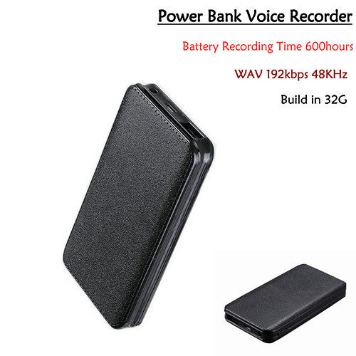 Powerbank Voice Recorder, Batteriinspelningstid 600hours, 32G - 1