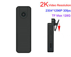 2K Mini Body Worn Camera, 2K Video Resolution, 2304*1296p, H.264, SD Card Max 128GB (SPY195)
