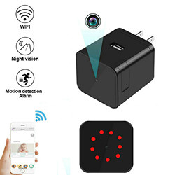 Super Nightvision WIFI Charger Camera, ກ້ອງຖ່າຍຮູບ 1080P / 120degree, Super Nightvision (SPY196)
