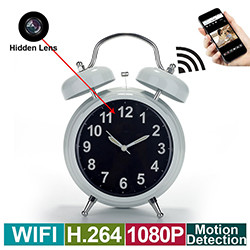 WIFI Hidden Spy Camera Alarm Clock, Home Security Camera Loop Video Recorder (SPY203)