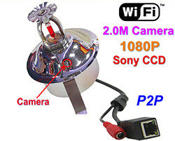 WIFI / IP Fire Sprinkler Camera, ກ້ອງ 2.0MP, POE, ສຽງ, Sony CCD, 1080P (SPY187)