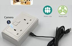2 Gang WIFI Wall Moulded Socket Outlet SPY Camera Hidden - 1 250px
