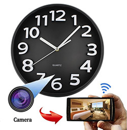 Home Decoration Wifi Wall Hidden Spy Camera Clock (SPY224) - S $ 328