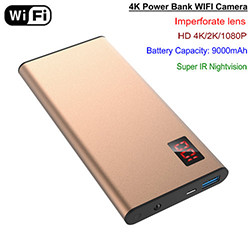 WIFI 4K Power bank Camera, Nightvision, HD4K/2K/1080P, SD Max 64G (SPY218)