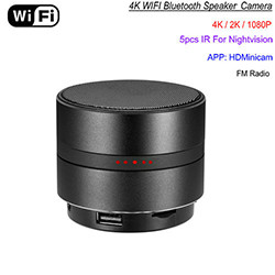 WIFI Netwerk Bluetooth Speaker Camera, HD 4K Video, Max 128G SD Kaart (SPY208) - S $ 258