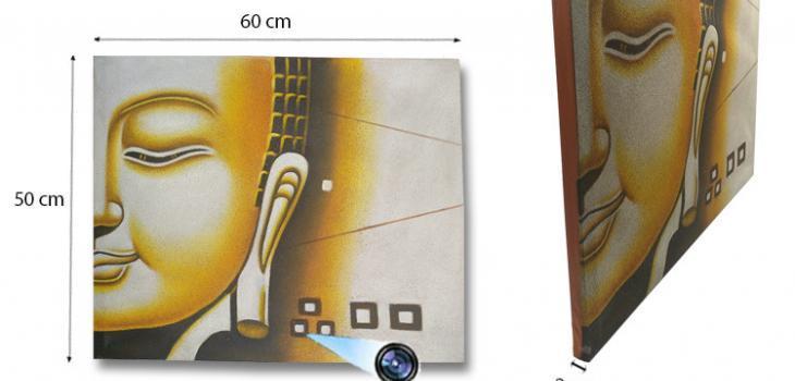 SPY232H - Yellow Buddha Face Oil Paint Spy Hidden Camera - 1