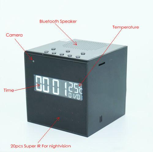 Bluetooth Speaker Clock WIFI Camera, Super Nightvision - 3