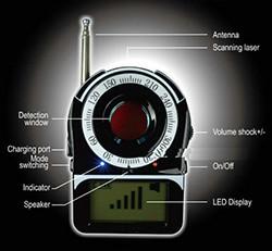 SPY fotoaparato klaidos detektorius - RF signalas / objektyvo detektorius (SPY996)