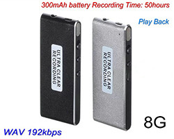 Ultra-thin Voice Recorder, 50 hrs Recording Time (SPY241)