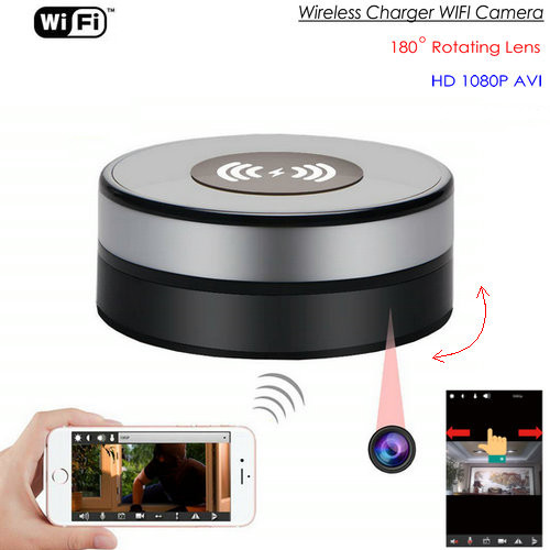 Wireless Charger WIFI Hidden Spy Camera, 180 Deg Rotation Lens-1