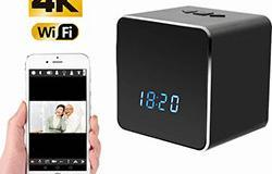 Kamera Spy fshehur WIFI Clock Bluetooth Speaker, Nightvision - 1 250px