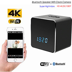 Hidden Spy Camera WIFI Bluetooth Speaker/Clock, HD Video 2K/1080P, Nightvision (SPY248)