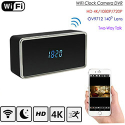 Faʻatonuina WIFI Clock Camera, HD Video 2k / 1080p, Nuʻu, WIFI / P2P / IP, 128G (SPY247)