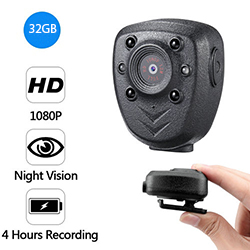 Clip Camera DVR, Super Nightvision, Battery Rec 4hours, ສ້າງໃນ 32G (SPY250)
