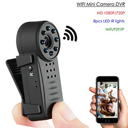Clip WIFI SPY Versteekte Wide Lens Camera, Nightvision, SD Max 64G, 300mAh battery (SPY255)