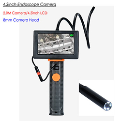 4.3inch Endoscope Camera, HD 2.0M Camera/ 8mm Head, LED Nightvision&Flashlight, Waterproof (SPY262)