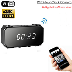 4K Mirror Clock Camera, HD4K/2K/1080P, 8pcs IR For Nightvision, SD Card Max 128G (SPY266)