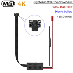 4K WIFI SPY Pinhole Spy Hidden Camera nrog Hmo Vision, SD Card Max 128G (SPY261)