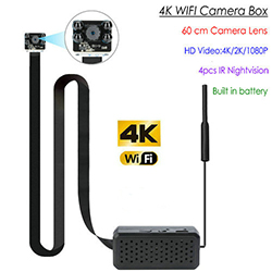 4K WIFI Pinhole SPY Hidden Camera with Night Vision, 60cm Length SD Card Max 128G, Built in battery (SPY267)