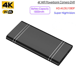4K WIFI Powerbank Kamera, HD 4K / 2K / 1080P, Nightvision / TF 128G, Bateri 10000mAh (SPY269) - S $ 238