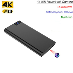 4K WIFI Powerbank kaamera, HD 4K / 2K / 1080P, Nightvision, SD-kaart Max 128GB, 6000mAh aku (SPY272)