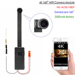 4K WIFI Camera Module,4K/2K/1080P, External 2500 mAh battery, TF Max 128G (SPY283)