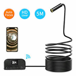Fócas Auto WIFI Endoscope Camera, 5.0MP, HD1994P, 3.5M / 14.2mm, 4pc faoi stiúir, 2600mAh (SPY284) - S $ 218