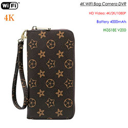 4K WIFI SPY Heded Bag Kamera, 4000mAh batini, Card SD Max 128G (SPY295) - S $ 248