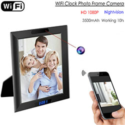 WIFI Clock Camera Photo Frame, HD1080P, funció de rellotge, TF Max 128G, bateria 3500mAh (SPY291) - S $ 298