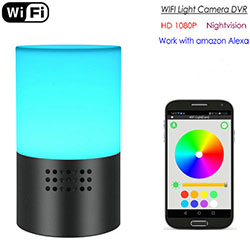 Kamera Lampu WIFI, HD 1080P, 7 Warna LED Light, Super Nightvision, Amazon Alexa (SPY289) - S $ 248