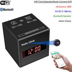 WIFI 시계 카메라, 와이파이 카메라 + 시계 + 블루투스 스피커 + FM 라디오, 나이트 비전 (SPY297) - S $ 278