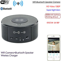 WIFI 스피커 카메라, 무선 충전기 + 블루투스 스피커, HI3518 V200, Real HD1080P, 5000mAh (SPY300)