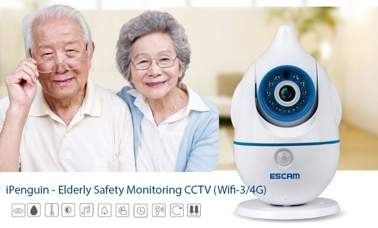 iPenguin - Elderly Safety Monitoring IP Camera CCTV (Wifi-3/4G) - Motion Detection & Night View