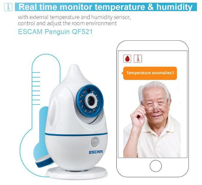 iPenguin - مراقبة سلامة المسنين كاميرا IP الدوائر التلفزيونية المغلقة - في الوقت الحقيقي رصد درجة الحرارة والرطوبة