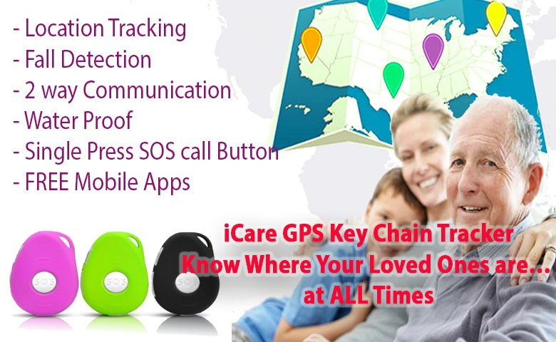 iHelp 3G/4G GSP Tracking Keychain, Waterproof , Motionless & fall Detection (Elderly with Dementia) [OMGGPS10D]