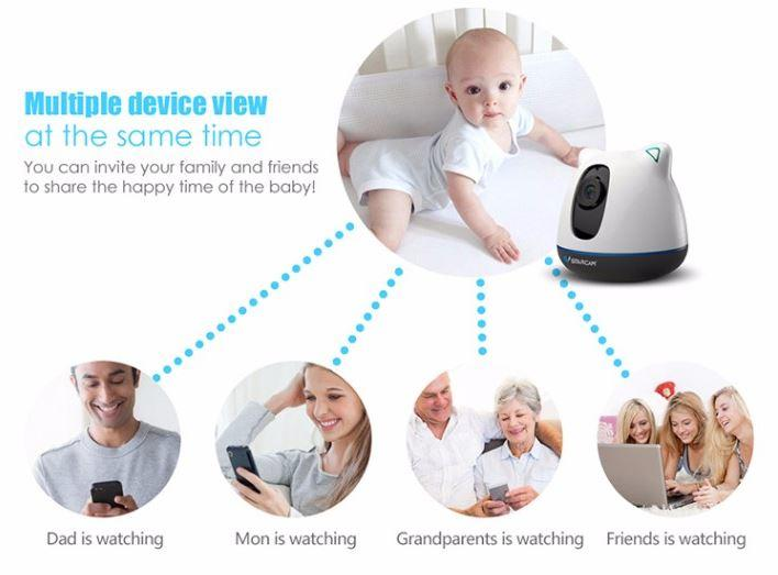 iBear-Baby-Elderly Safety Monitor IP Camera Wifi CCTV-Multiple Device View