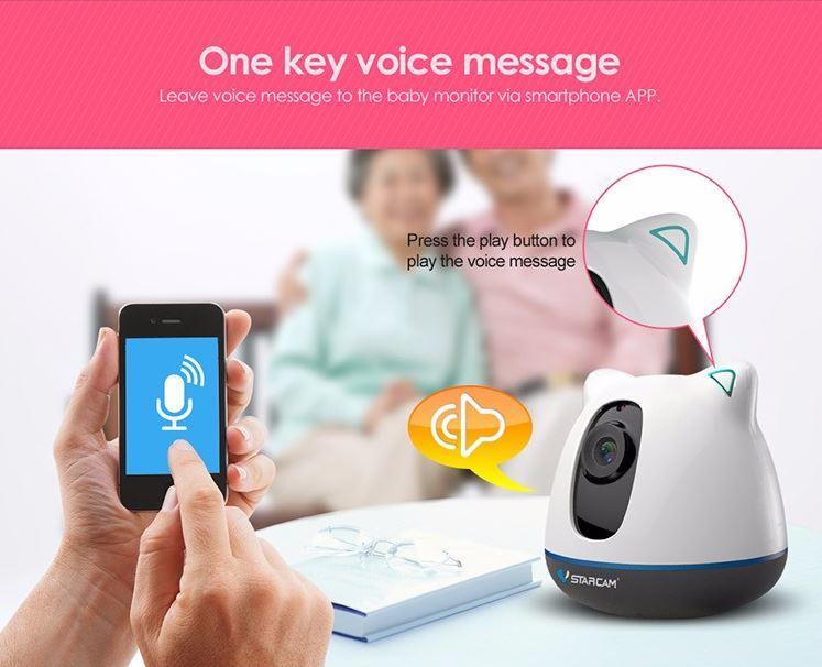 iBear - Baby - Älterer Sicherheitsmonitor IP-Kamera Wifi CCTV - Eine Schlüsselsprachnachricht