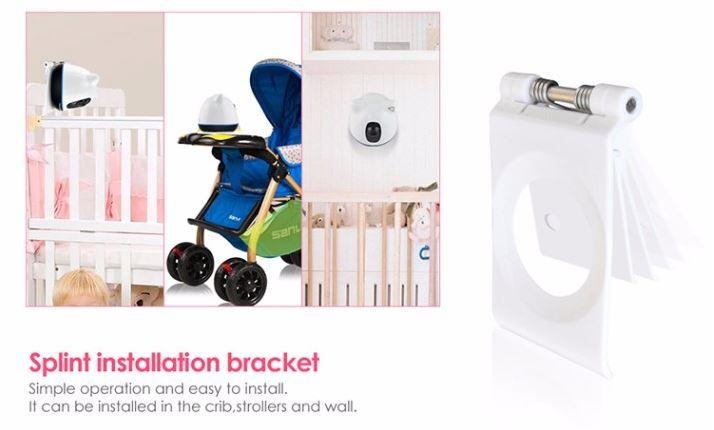 iBear - Baby - Älterer Sicherheitsmonitor IP Kamera Wifi CCTV - Schieneninstallationsklammer