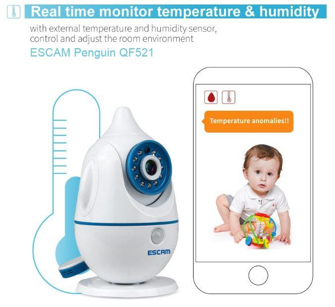 iPenguin - Baby-Elderly Safety Monitor IP Camera CCTV - Real Time Monitor Temperature & Humidity