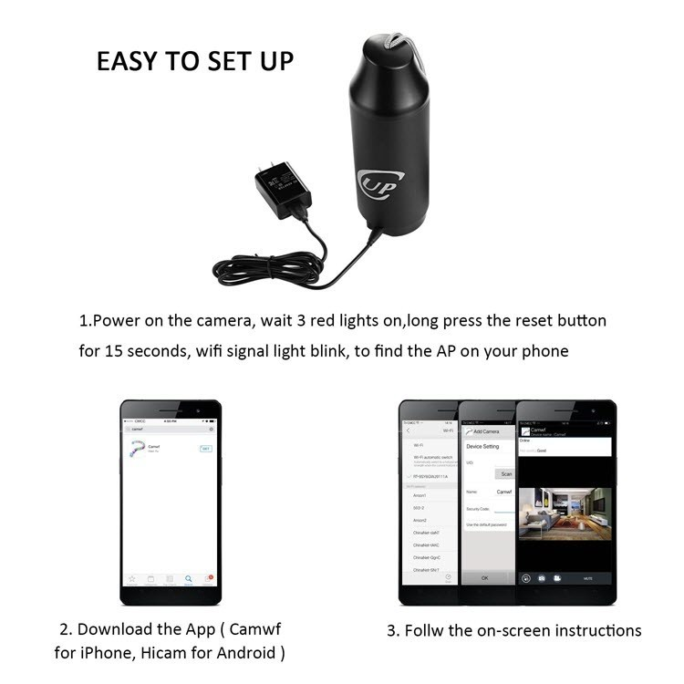 720P Portable Hidden Wireless Cup Camera - 3