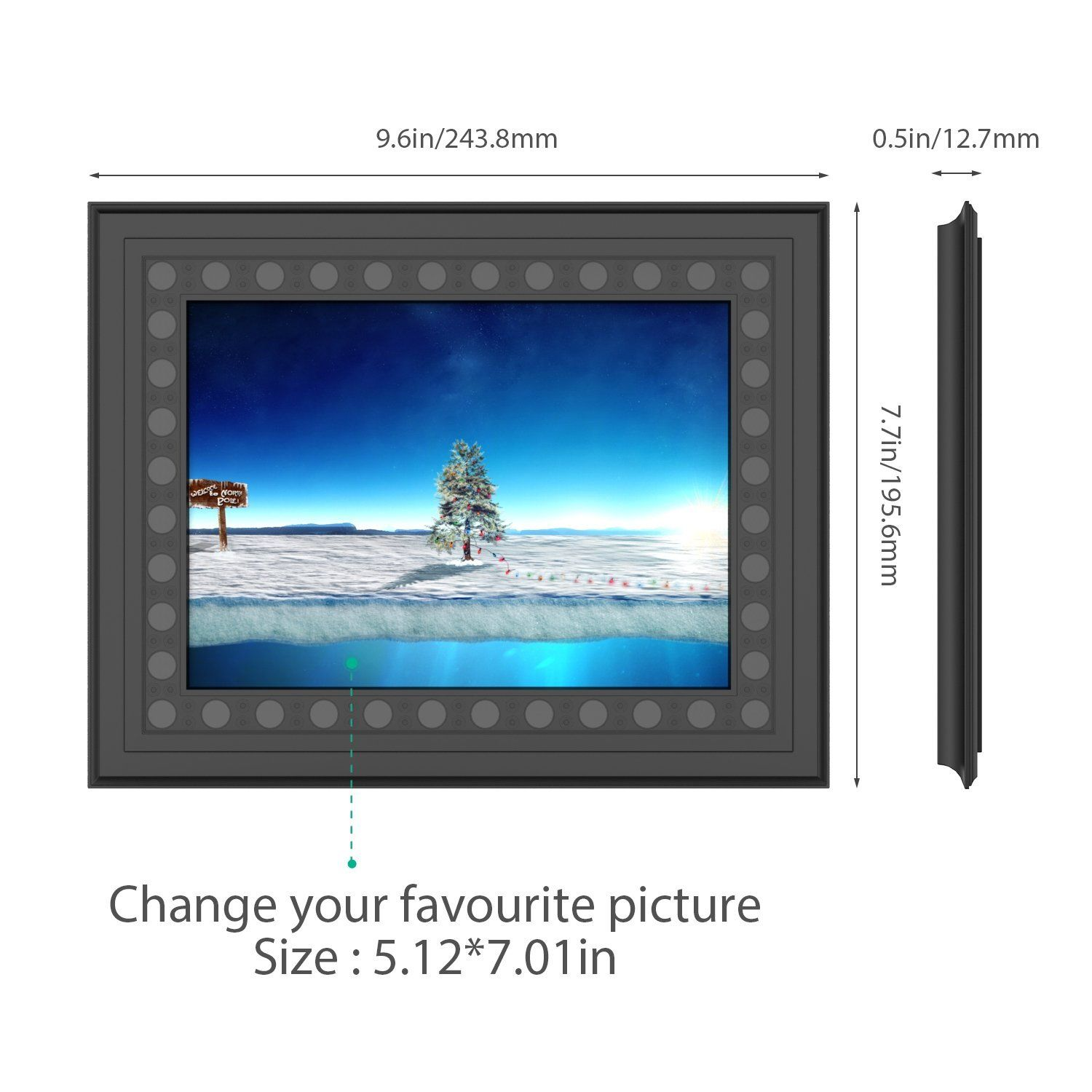 HD 720P Photo Frame Hidden Spy Camera - Dimension