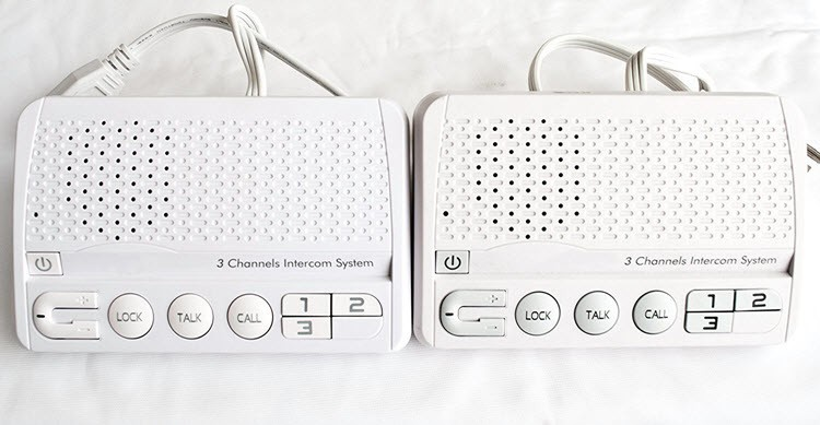 3 Channels HOME Power-line Intercom System, 3 Wire, White, Two Stations Set - 1