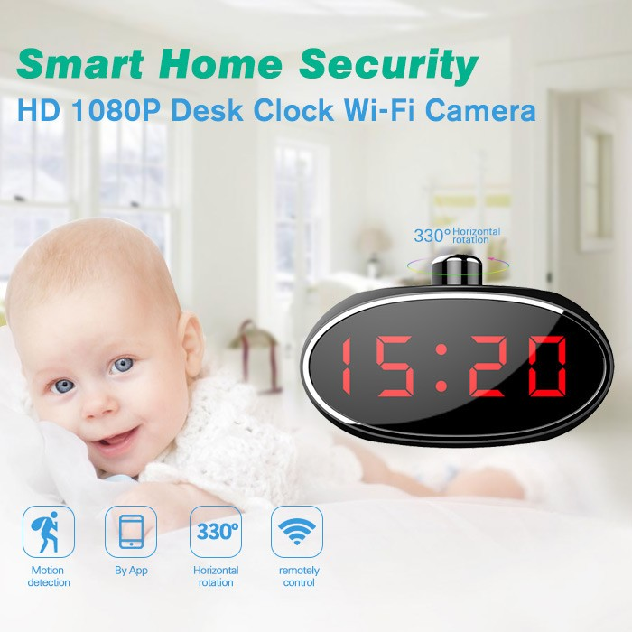 SPY061 - Wifi Alarm Clock Hidden Camera 330 degree Rotatable Lens for Home - 2