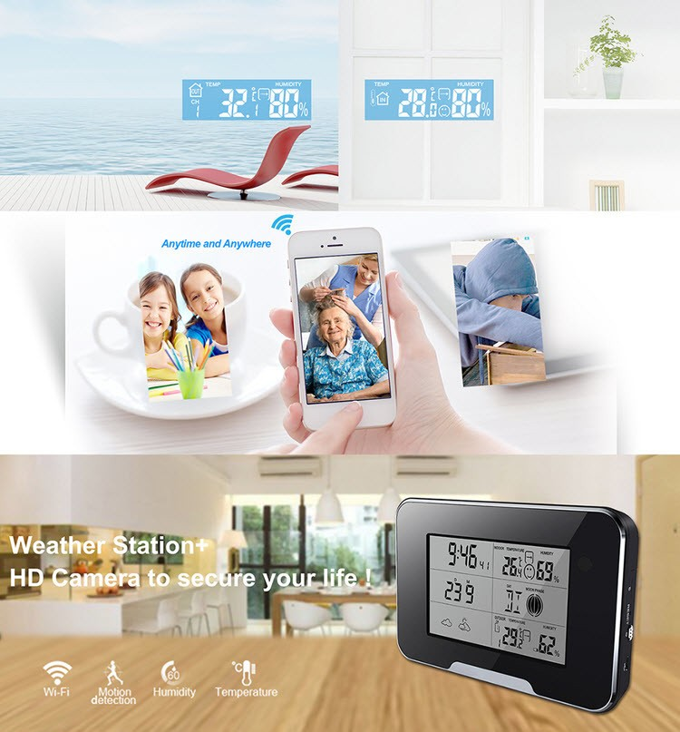 SPY062 - WIFI HD 1080P Weather Station Security Camera, Support SD Card 64GB - 3