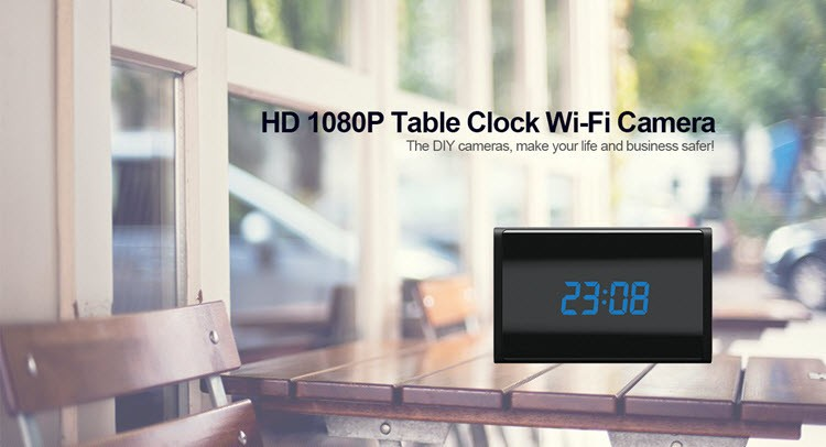 WIFI HD 1080P Table Clock Security Camera, Support SD Card 128GB - 2