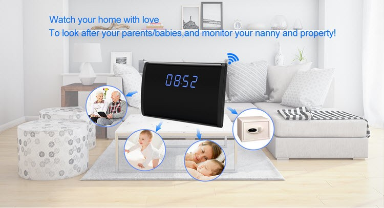 WIFI HD 1080P Table Clock Security Camera, Support SD Card 128GB - 3