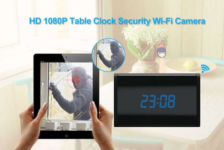 WIFI HD 1080P Table Clock Security Camera, Support SD Card 128GB - 5
