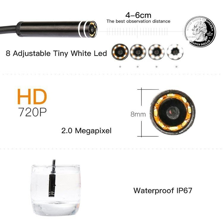 WiFi USB Endoscope, Semi-rigid USB Inspection Camera for Android iOS Tablet - 10M - 3