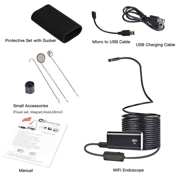 WiFi USB Endoscope, Semi-rigid USB Inspection Camera for Android iOS Tablet - 10M - 7